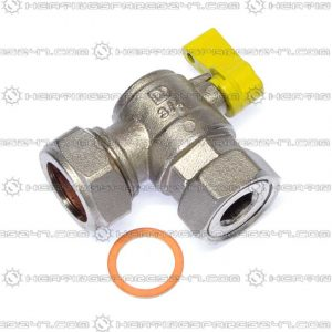 "Heatline 22mm x 3/4"" Swivel Gas Isolation Valve D00216028-22YH"
