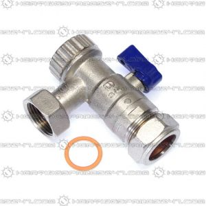 "Heatline 22mm x 3/4"" Swivel Return Valve C/W Filter D002160280-22BH"
