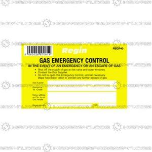 Regin Gas Emergency Control Sticker REGP40