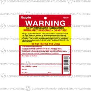 Regin Warning Appliance/Installation Unsafe Tag REGP31